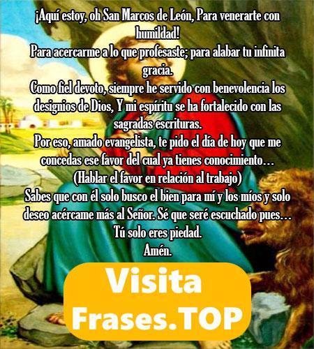 Oración para el trabajo a San Marcos de León